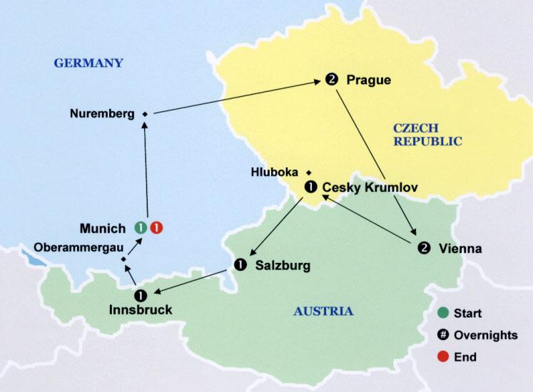 Imperial Castles Tour: Germany Austria Czech Map At Slyspyder.com
